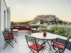 The hotel's rooftop bar and unobstructed up-close views of the Acropolis are major draws, as are the 20 Mod-ish rooms with Le Corbusier armchairs and Warren Platner coffee tables. But the real selling point is the hotel's location in Plaka, smack-dab in the middle of historic Athens.