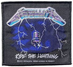 Official Metallica Iron-on Patch measuring approx 100mm x 95mm featuring artwork based on the 1984 Ride The Lightning Album DEATH IN THE AIR STRAPPED