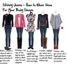 Skinny Jeans- How to wear them for your body shape. More people need to know this information. Just because they are called Skinny Jeans doesn't mean you automatically look skinny in them.you would look best in the middle Mode Outfits, Fashion Outfits, Womens Fashion, Party Outfits, Jean Outfits, Skinny Jeans Kombinieren, Inside Out Style, Looks Style, My Style
