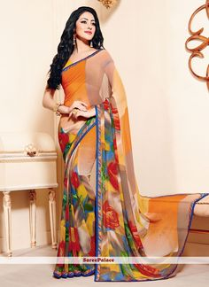 Immaculate Multi Colour Print Work Georgette Casual Saree