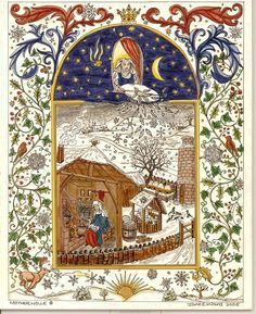 it is said that when Mother Holle makes her bed it snows. Here she is leaning out of her window shaking and fluffing up her feather pillows and making it snow on the winter scene below. Medieval, Feather Pillows, Grimm Fairy Tales, All Nature, Fairy Godmother, Winter Solstice, Gods And Goddesses, Illuminated Manuscript, Yule