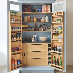 35 Fabulous Pantry Storage Ideas For Your Kitchen - You have to take it a bit slowly before choosing to do a whole kitchen remodel. Home improvement can be expensive, so it should not be rushed into. Kitchen Larder, Kitchen Pantry Design, Modern Kitchen Design, Home Decor Kitchen, Interior Design Kitchen, Kitchen Ideas, Kitchen Organization, Kitchen Cabinets, Organization Ideas