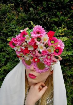 Eden: Upcycled frames customised with fake flowers and pearls and finished with a pink gingham trim. Pink Gingham, Fake Flowers, Headpiece, Crowd, Frames, Photograph, Pearls, Eyes, Floral