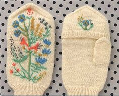 Love the simplicity of the knitted mitten with the elaborate embroidery!