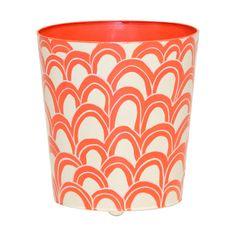 Worlds Away Oval Wastebasket Orange And Cream ($160) ❤ liked on Polyvore