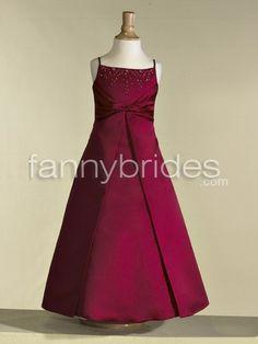 Elegant A-line Spaghetti Straps Sleeveless Ankle-length Beaded and Layered Satin Flower Girl Dress - Fannybrides.com