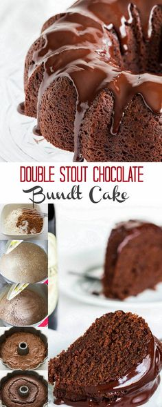 Stout in the cake and stout in the ganache! This double stout chocolate bundt cake is studded with slivered dark chocolate for even more intense flavor. Every chocoholic's heaven! Chocolate Stout, Chocolate Bundt Cake, Chocolate Desserts, Chocolate Lovers, Chocolate Ganache, Best Dessert Recipes, Fun Desserts, Cake Recipes, Baking Desserts