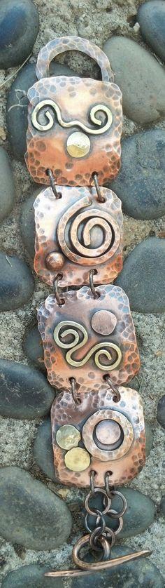 Copper and brass bracelet