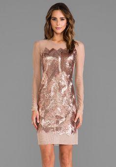 Anaya Sequin Dress in Metallic Copper - Lyst