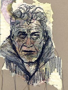John Berger portrait by Shirley Nette Williams John Berger portrait by Shirley Nette Williams Maisie Williams, Portrait Embroidery, John Berger, A Level Textiles, Free Motion Embroidery, Thread Art, A Level Art, Face Characters, Drawing Artist