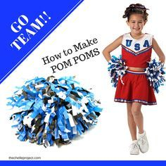 Learn how to make DIY Cheerleading Pom Pom's to show your team spirit when watching your favorite game! I decided to make Pom Pom's to show team spirit at our l Cheerleading Pom Poms, Cheer Pom Poms, Cheerleading Crafts, Sports Games For Kids, Games For Toddlers, How To Make A Pom Pom, How To Make Diy, Diy For Kids, Crafts For Kids
