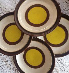 Set of 4 Vintage Denby Langley Potters Wheel Gold Yellow Dinner Plates Rustic Stoneware & Vintage Denby Langley Potpourri White Pitcher Creamer \u0026 Sugar Bowl ...