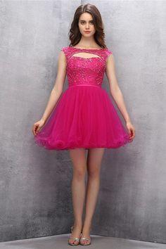 Knee Length Fuchsia Organza Homecoming Dress With Beading PG012
