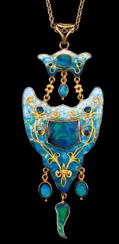 James Cromar Watt Opal and Enamel Necklace