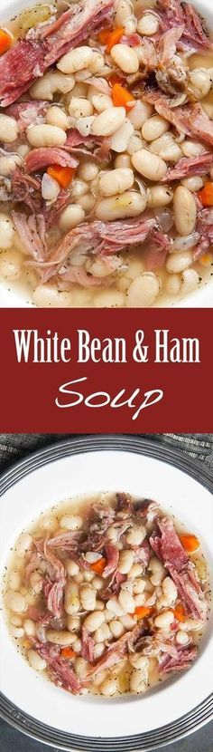 White Bean and Ham Soup Hearty white bean and ham soup. White Bean and Ham Soup Hearty white bean and ham soup perfect for cold winter days! White beans ham shanks onions celery carrots garlic Tabasco and herbs. White Bean Ham Soup, White Beans And Ham, Ham And Bean Soup, Ham Hock Soup, Navy Bean Soup, Soup Beans, Soup And Sandwich, Sandwich Recipes, Meat Recipes