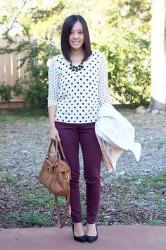 Spots & purple pants