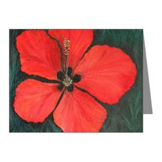 Red Tropical Christmas Hibis Note Cards (Pk of 10)