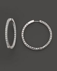 Diamond Inside-Out Hoop Earrings in 14K White Gold, 1.50 ct. t.w.