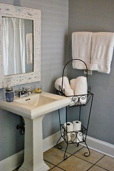 Paint color- BM Feather Gray, love this look, white pedestal sink and grayish-blueish walls would look good with a hammered mirror Pedestal Sink Storage, Pedestal Sink Bathroom, Bathroom Sink Storage, Laundry Room Bathroom, Downstairs Bathroom, Bathroom Renos, Small Bathroom, Bathroom Ideas, Bathroom Designs
