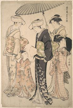 Torii Kiyonaga (Japanese, 1752–1815). Two Women in Summer Costume Taking a Young Girl to a Shinto Temple for the Miya Mairi Ceremony, ca. 1783. Japan; Edo period (1615–1868). The Metropolitan Museum of Art, New York. The Francis Lathrop Collection, Purchase, Frederick C. Hewitt Fund, 1911 (JP723)