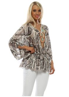 Stylish Port Boutique grey tops available online now at Designer Desirables. More summer tops delivered free with free returns Kaftan Tops, Tunic Tops, Kaftan Style, Beaded Sandals, Going Out Tops, Beach Tops, Summer Tops, White Jeans, Black And Grey