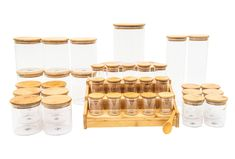 Bamboo Glass Deluxe Pack (Back in Stock Mid to End of May) Spice Labels, Pantry Labels, Pantry Storage, Jar Storage, Glass Storage Containers, Spice Storage, Kitchen Organisation, Baking Organization, Organisation Ideas