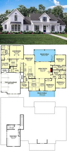 Most Popular Farmhouse Plans - Blueprints, layouts and details of the best farmhouses on the market. Building your dream home in the country? # home plane farmhouse, 7 Most Popular Farmhouse Plans With Pictures Farmhouse Layout, Farmhouse Remodel, Farmhouse Interior, Farmhouse Plans, Country Interior, Br House, Ideal House, Cottage House, Garage Bedroom
