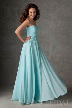 Ruched Dipped Neckline Chiffon Long Bridesmaid Dress | LynnBridal.com