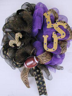 LSU/Saints Deco Mesh Wreath. #lsu #saints #Louisiana # football #wreath #New #Orleans