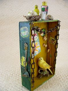 1 yellow bird 4 by Altered Angel Supply, via Flickr, shadowbox