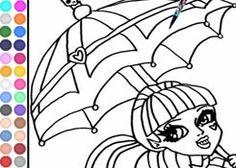 ColorearMonsterHigh.com - Juego: Colorear Paraguas Draculaura - Jugar Gratis Online