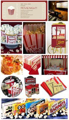 Cinema / movie birthday party-maybe for my Outdoor Movie Party, Movie Night Party, Party Time, Backyard Movie, Night Parties, Backyard Parties, Birthday Party Themes, Birthday Ideas, 16th Birthday