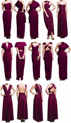 Long ladies adorable purple color dress from all sides view | Fashion World