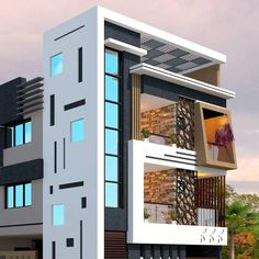 Top 30 Most Beautiful Houses Front Designs 2019 - Engineering Discoveries Narrow House Designs, Modern Exterior House Designs, Bungalow Exterior, Modern House Design, Exterior Design, Latest House Designs, 3 Storey House Design, Bungalow House Design, House Front Design