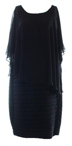 MSK NEW Solid Black Women's Size 16W Plus Sheer Shutter Sheath Dress $109