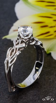Organic Twist Engagement Ring. Green Lake Jewelry.