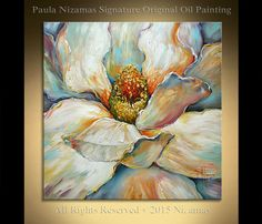 Acrylic and Oil large Magnolia Painting on canvas by Artcoast