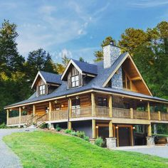 Handcrafted log home constructed by Broyhill Wiles Log and Timber Frame Builders of Chapel Hill NC.