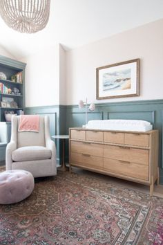 Come see our blush and sage green nursery for our baby girl. It's a sophisticated space with lots of DIY touches. The perfect girl nursery design. Girl Nursery, Blush Nursery, Nursery Dresser, Girl Room, Diy Playbook, Board And Batten, Built Ins, Fixer Upper, House Tours