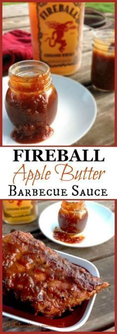 Fireball Apple Butter Barbecue Sauce ~ Enjoy the Flavors of this Tangy, Sweet Sauce with Apple Butter and a Hint of Cinnamon from the Fireball Whiskey. Excellent Basting Sauce for Pork or Chicken Barbecue Dishes. Apple Butter Barbecue Sauce Recipe, Barbecue Sauce Recipes, Grilling Recipes, Bbq Sauces, Vegetarian Grilling, Apple Sauce, Healthy Grilling, Vegetarian Food, Barbeque Sauce