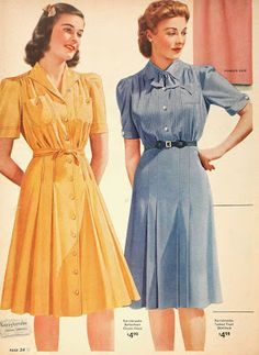 Casual dresses in the Sears catalog, (x) Vintage Outfits, Retro Outfits, Vintage Dresses, 1940s Fashion Women, Retro Fashion, Vintage Fashion, Fashion Fashion, Edwardian Fashion, Fashion Dresses