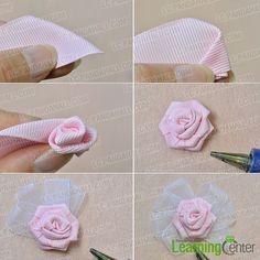 make a pink ribbon flower
