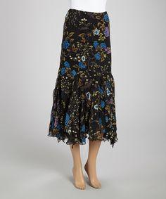 Another great find on #zulily! Zashi Black & Blue Floral Flared Skirt by Zashi #zulilyfinds