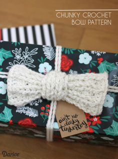 Crocheted gift toppers are a fun alternative to ribbon, and today I've got a pattern for a chunky crochet bow that makes an extra special gift topper!