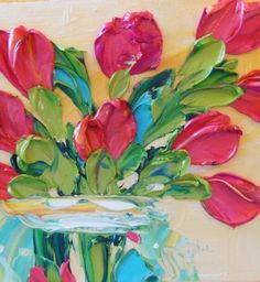 Oil Painting Art Red Tulips Impasto Painting Gift for Her Valentines Day. $40.00, via Etsy.