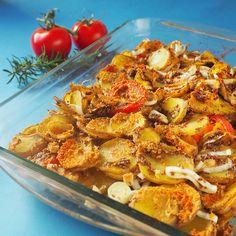 Rezept: veganer Kartoffelauflauf mit Tomate und Lauch