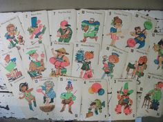 These are the characters that were on the Old Maid set at Grandma Helen's house.  :)