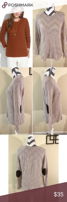 """🆕❄️Madewell Tan Elbow-patch Stadium Sweater Excellent Pre-loved Condition, no flaws! Tan Elbow-patch Stadium Sweater by Madewell Retails for $89.95 Size: L, 27"""" long 20.5"""" across bust, 29.5"""" long sleeves laying down Material: 100% Merino Wool Description: Pullover style, thin knit, elbow pads Madewell Sweaters Crew & Scoop Necks"""