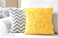 Rosette Pillow Tutorial -no sew rosette embellishment! Turn any pillow/pillow cover into a cute chic pillow!