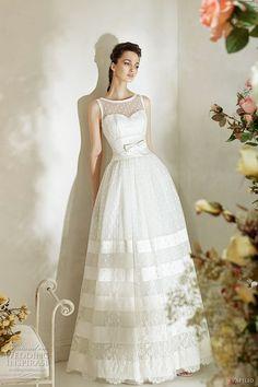 Polka-dot and striped lace wedding dress. Beautiful.